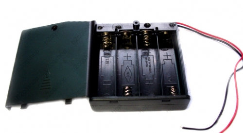 Closed battery casing with switch